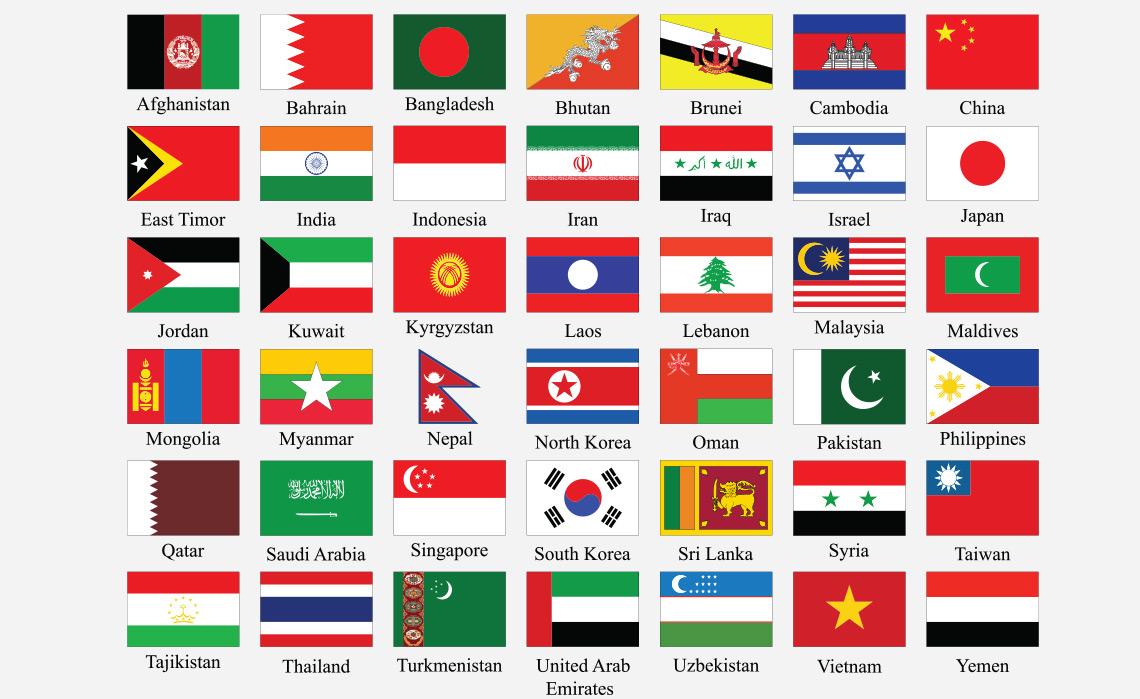 Bandeiras dos países da Ásia