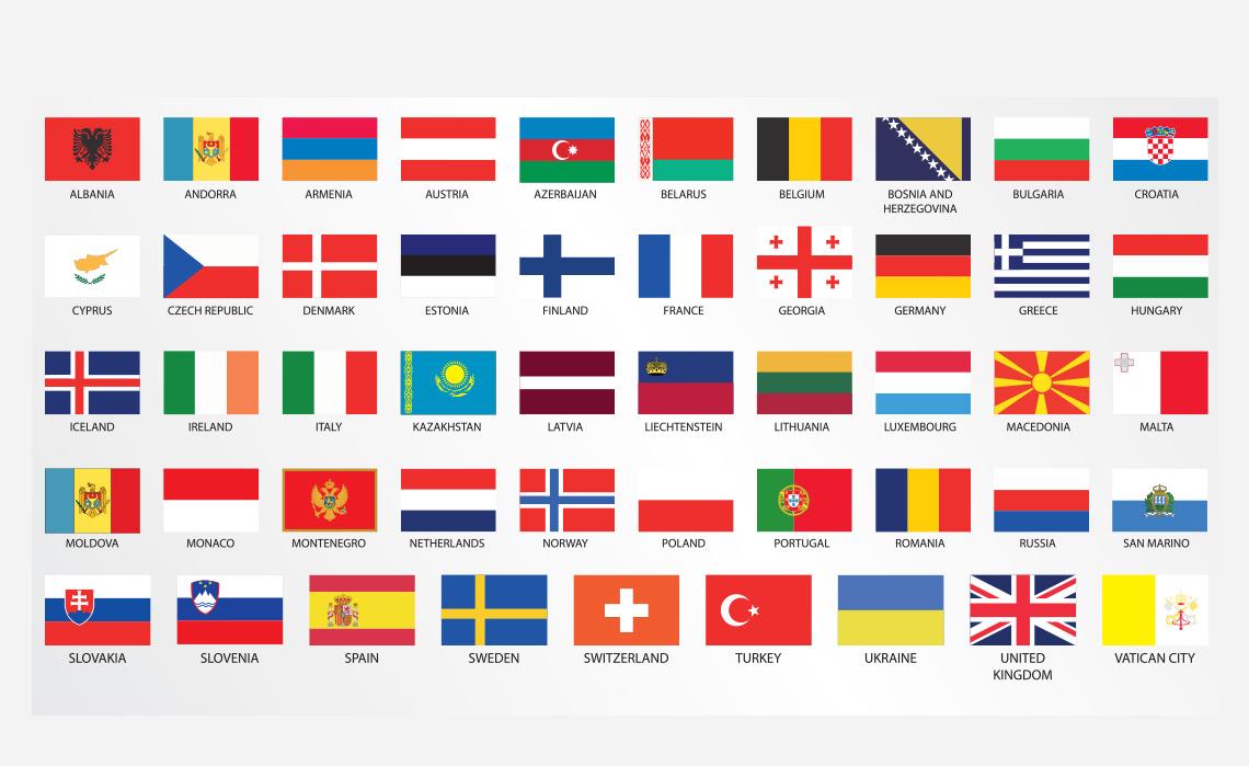Bandeiras dos países da Europa